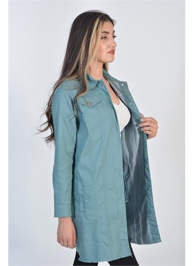 Zeren Kadın Mint Arka Baskılı Metal Düğmeli Denım Ceket Yeşil